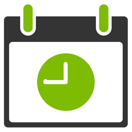 clockface: Clock Calendar Day vector pictogram. Style is flat graphic bicolor symbol, eco green and gray colors, white background.