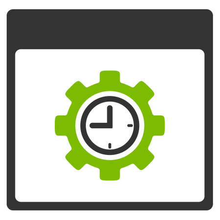 configuration: Clock Configuration Gear Calendar Page vector pictograph. Style is flat graphic bicolor symbol, eco green and gray colors, white background.