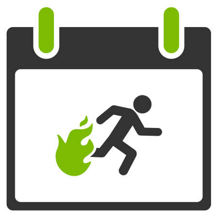 escape plan: Fire Evacuation Man Calendar Day vector icon. Style is flat graphic bicolor symbol, eco green and gray colors, white background. Illustration