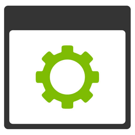 Gear Options Calendar Page vector pictograph. Style is flat graphic bicolor symbol, eco green and gray colors, white background.