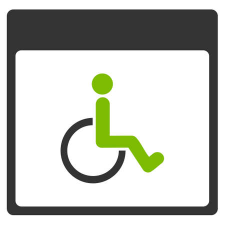 paralyze: Handicapped Calendar Page vector pictogram. Style is flat graphic bicolor symbol, eco green and gray colors, white background.