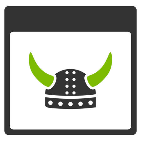 horned: Horned Ancient Helmet Calendar Page vector pictograph. Style is flat graphic bicolor symbol, eco green and gray colors, white background. Illustration