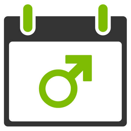 male symbol: Mars Male Symbol Calendar Day vector pictogram. Style is flat graphic bicolor symbol, eco green and gray colors, white background.