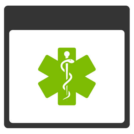 Medical Life Star Calendar Page vector pictogram. Style is flat graphic bicolor symbol, eco green and gray colors, white background. Ilustração