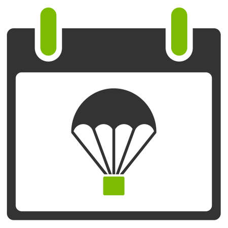 skydiving: Parachute Calendar Day vector pictogram. Style is flat graphic bicolor symbol, eco green and gray colors, white background. Illustration