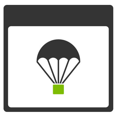 skydiving: Parachute Calendar Page vector pictogram. Style is flat graphic bicolor symbol, eco green and gray colors, white background.