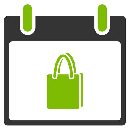 billfold: Shopping Bag Calendar Day vector icon. Style is flat graphic bicolor symbol, eco green and gray colors, white background.
