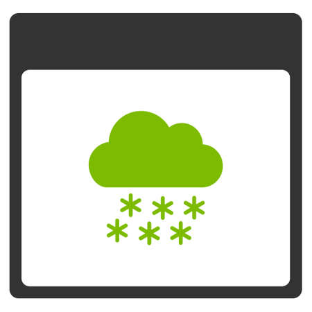 Snow Cloud Calendar Page vector icon. Style is flat graphic bicolor symbol, eco green and gray colors, white background.