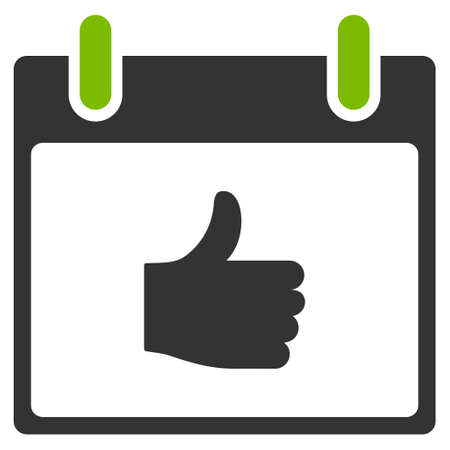 date validate: Thumb Up Calendar Day vector icon. Style is flat graphic bicolor symbol, eco green and gray colors, white background.