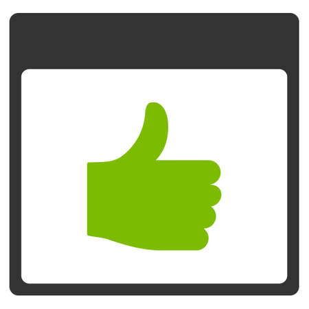 date validate: Thumb Up Calendar Page vector pictograph. Style is flat graphic bicolor symbol, eco green and gray colors, white background.