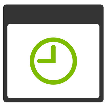 clockface: Time Calendar Page vector pictogram. Style is flat graphic bicolor symbol, eco green and gray colors, white background.