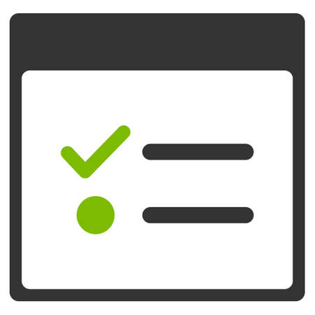 nomenclature: Todo Items Calendar Page vector pictogram. Style is flat graphic bicolor symbol, eco green and gray colors, white background.
