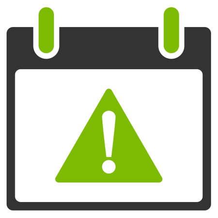 eco notice: Warning Calendar Day vector pictogram. Style is flat graphic bicolor symbol, eco green and gray colors, white background.