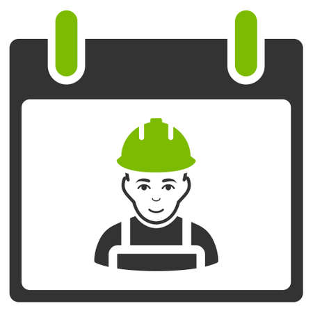 Worker Calendar Day vector icon. Style is flat graphic bicolor symbol, eco green and gray colors, white background. Illustration