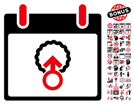 fertilize: Cell Penetration Calendar Day pictograph with bonus calendar and time management images. Vector illustration style is flat iconic symbols, intensive red and black, white background.