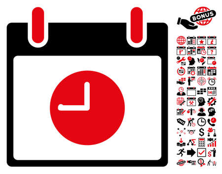 clockface: Clock Calendar Day pictograph with bonus calendar and time management symbols. Vector illustration style is flat iconic symbols, intensive red and black, white background. Illustration
