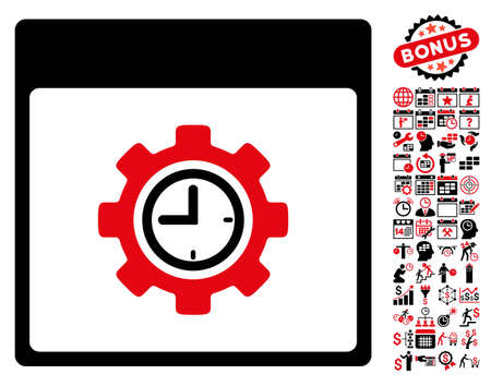 Clock Configuration Gear Calendar Page pictograph with bonus calendar and time management design elements. Vector illustration style is flat iconic symbols, intensive red and black, white background.