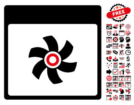 impeller: Fan Calendar Page pictograph with bonus calendar and time management symbols. Vector illustration style is flat iconic symbols, intensive red and black, white background.
