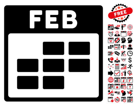 february calendar: February Calendar Grid icon with bonus calendar and time management clip art. Vector illustration style is flat iconic symbols, intensive red and black, white background.