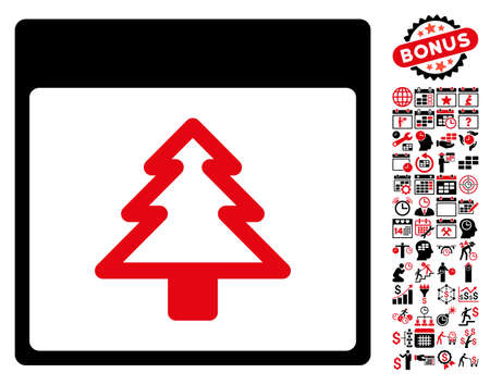 christmas bonus: Fir Tree Calendar Page icon with bonus calendar and time management graphic icons. Vector illustration style is flat iconic symbols, intensive red and black, white background.
