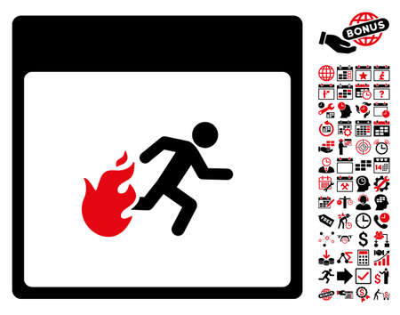 escape plan: Fire Evacuation Man Calendar Page icon with bonus calendar and time management pictograms. Vector illustration style is flat iconic symbols, intensive red and black, white background.