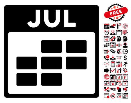 calendario julio: Julio pictograma cuadrícula del calendario con el calendario de la prima y la gestión del tiempo símbolos. estilo de ilustración vectorial símbolos icónicos es plana, de color rojo intenso y negro, fondo blanco. Vectores