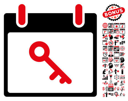 latchkey: Key Calendar Day icon with bonus calendar and time management pictograph collection. Vector illustration style is flat iconic symbols, intensive red and black, white background.