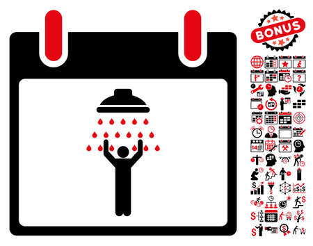 man shower: Man Shower Calendar Day icon with bonus calendar and time management clip art. Vector illustration style is flat iconic symbols, intensive red and black, white background. Illustration