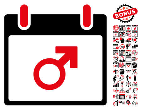 male symbol: Mars Male Symbol Calendar Day pictograph with bonus calendar and time management graphic icons. Vector illustration style is flat iconic symbols, intensive red and black, white background.