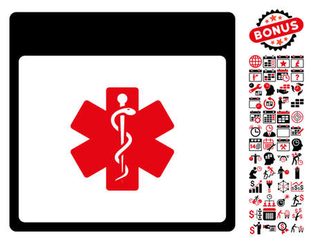 snake calendar: Medical Life Star Calendar Page pictograph with bonus calendar and time management design elements. Vector illustration style is flat iconic symbols, intensive red and black, white background.