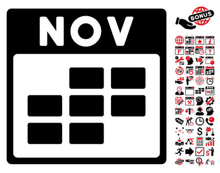november calendar: November Calendar Grid pictograph with bonus calendar and time management design elements. Vector illustration style is flat iconic symbols, intensive red and black, white background.