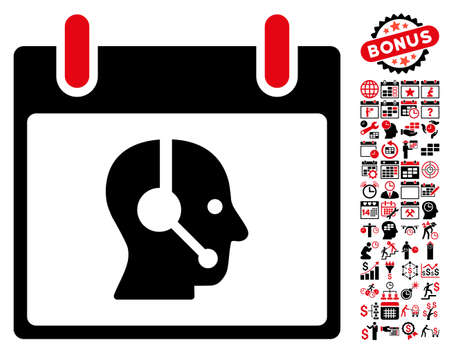 talker: Operator Calendar Day pictograph with bonus calendar and time management clip art. Vector illustration style is flat iconic symbols, intensive red and black, white background.