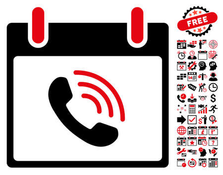 phone time: Phone Call Calendar Day pictograph with bonus calendar and time management symbols. Vector illustration style is flat iconic symbols, intensive red and black, white background.