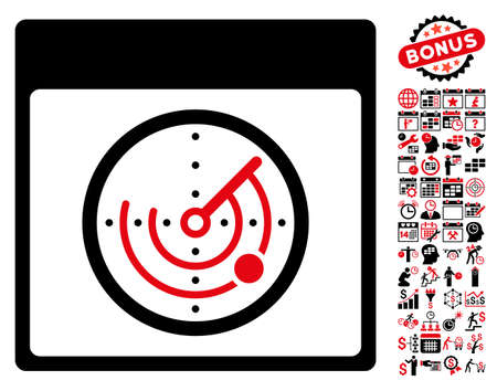 Radar Calendar Page pictograph with bonus calendar and time management pictures. Vector illustration style is flat iconic symbols, intensive red and black, white background.