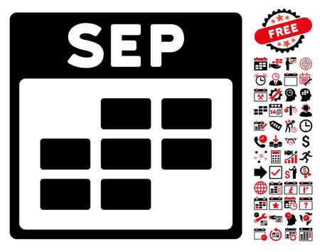 september calendar: September Calendar Grid icon with bonus calendar and time management images. Vector illustration style is flat iconic symbols, intensive red and black, white background. Illustration
