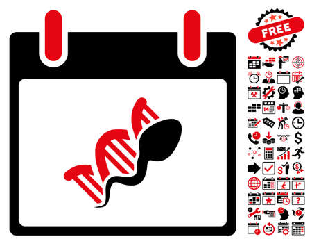 replication: Sperm DNA Replication Calendar Day icon with bonus calendar and time management graphic icons. Vector illustration style is flat iconic symbols, intensive red and black, white background.