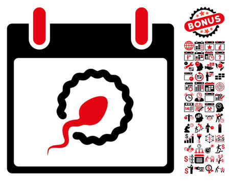 fertilize: Sperm Insemination Calendar Day pictograph with bonus calendar and time management pictograms. Vector illustration style is flat iconic symbols, intensive red and black, white background.