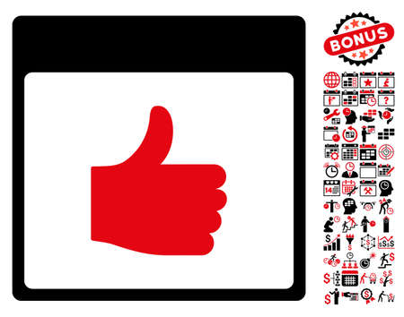 Thumb Up Calendar Page pictograph with bonus calendar and time management pictograms. Vector illustration style is flat iconic symbols, intensive red and black, white background.