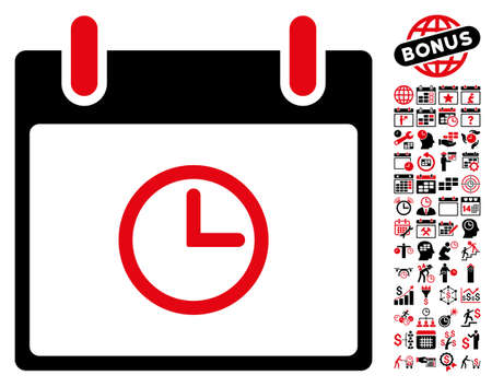 clockface: Time Calendar Day icon with bonus calendar and time management clip art. Vector illustration style is flat iconic symbols, intensive red and black, white background.