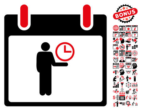 temporary workers: Time Manager Calendar Day icon with bonus calendar and time management graphic icons. Vector illustration style is flat iconic symbols, intensive red and black, white background.