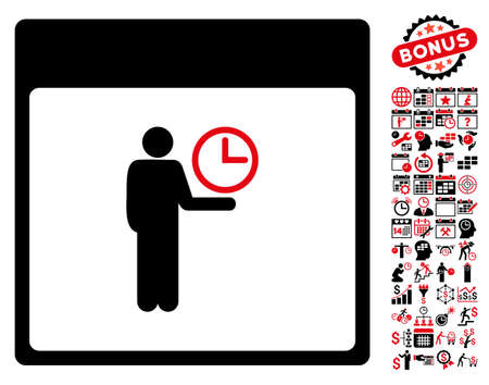 temporary workers: Time Manager Calendar Page icon with bonus calendar and time management pictures. Vector illustration style is flat iconic symbols, intensive red and black, white background. Illustration