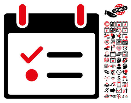 item list: Todo List Calendar Day icon with bonus calendar and time management graphic icons. Vector illustration style is flat iconic symbols, intensive red and black, white background.