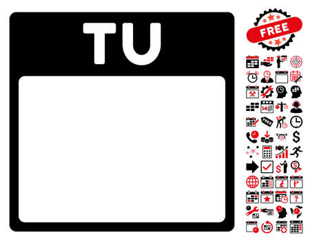 tuesday: Tuesday Calendar Page pictograph with bonus calendar and time management graphic icons. Vector illustration style is flat iconic symbols, intensive red and black, white background. Illustration