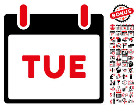tuesday: Tuesday Calendar Page pictograph with bonus calendar and time management clip art. Vector illustration style is flat iconic symbols, intensive red and black, white background. Illustration