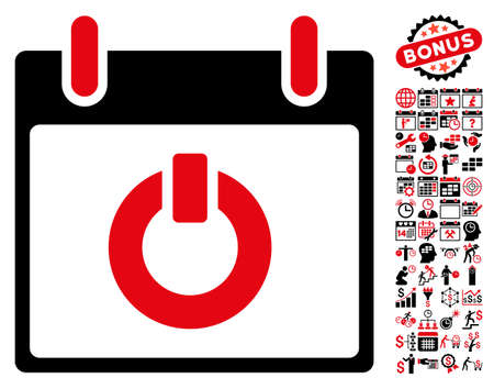 turn on: Turn on Calendar Day pictograph with bonus calendar and time management design elements. Vector illustration style is flat iconic symbols, intensive red and black, white background.