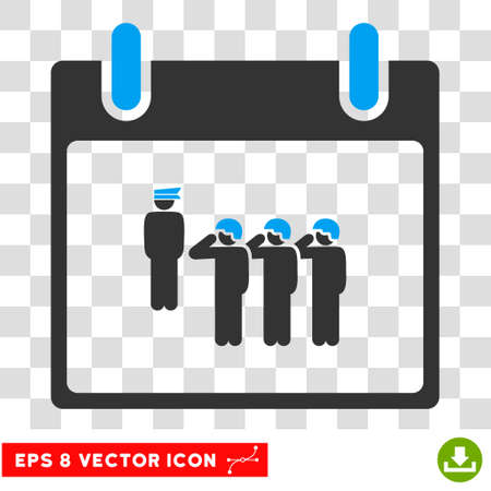 squad: Vector Army Squad Calendar Day EPS vector pictogram. Illustration style is flat iconic bicolor blue and gray symbol on a transparent background. Illustration