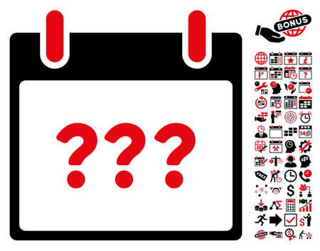unknown: Unknown Day Calendar Page icon with bonus calendar and time management symbols. Vector illustration style is flat iconic symbols, intensive red and black, white background.