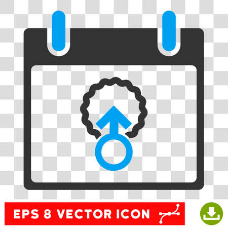 penetracion: Vector Cell Penetration Calendar Day EPS vector icon. Illustration style is flat iconic bicolor blue and gray symbol on a transparent background.