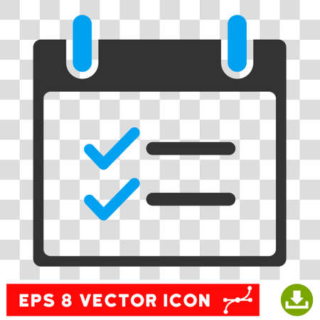 item list: Vector Check Items Calendar Day EPS vector pictogram. Illustration style is flat iconic bicolor blue and gray symbol on a transparent background.
