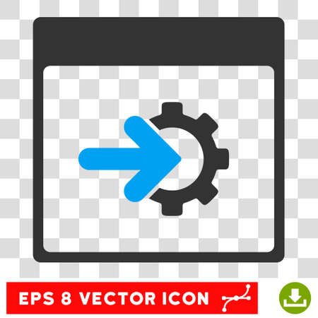 plug in: Vector Cog Integration Calendar Page EPS vector icon. Illustration style is flat iconic bicolor blue and gray symbol on a transparent background. Illustration